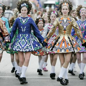Members of the Sheila Tully School of Irish Dance perform Saturday, March 17, 2007, during the 52nd Annual Chicago St. Patrick's Day Parade. (AP Photo/M. Spencer Green)